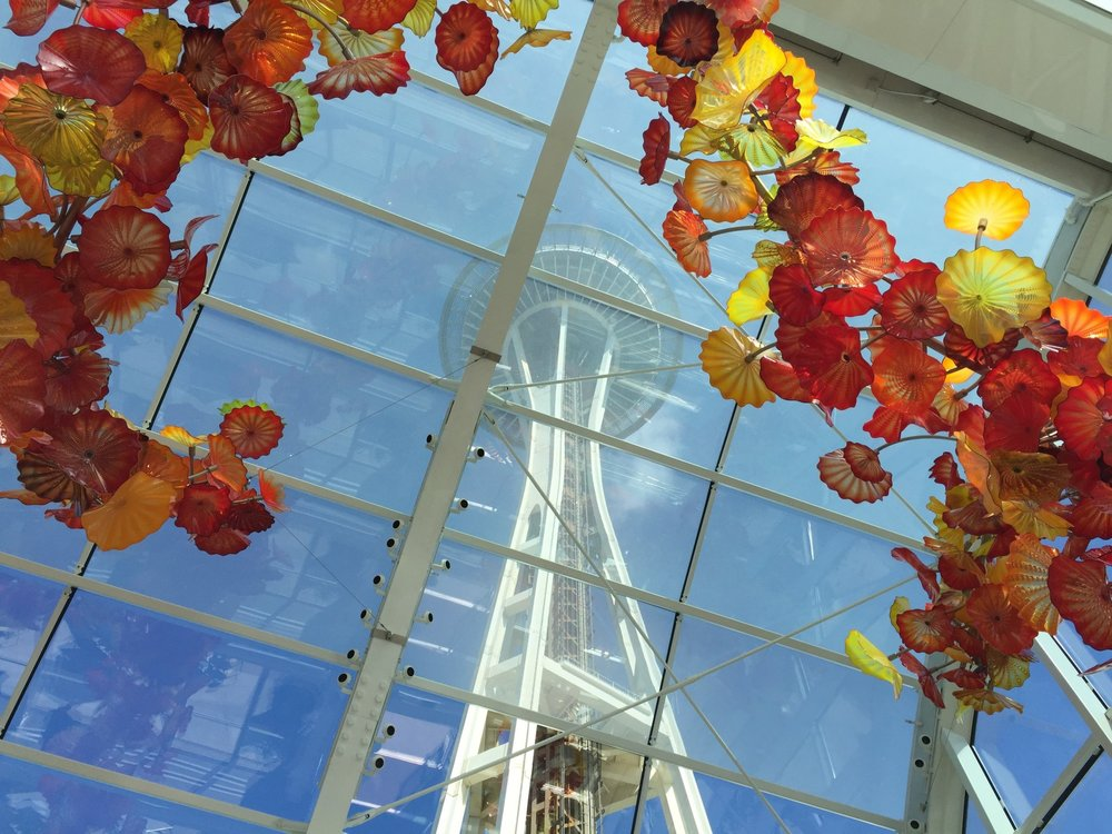 View of the Space Needle from Chihuly Garden and Glass, the location for AFJ's Taste Seattle event.