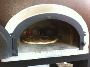 pizza and dutch oven in oven