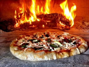 Pizza in wood oven