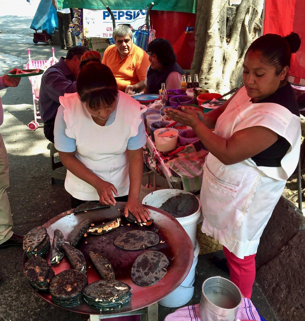 Blue Corn Quesadillas with Chorizo & Potato / Mexico City / ©2016 Melody Jean Moulton
