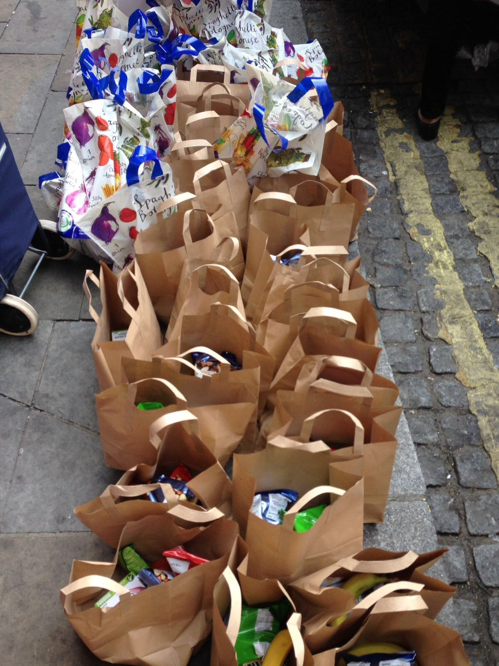 Packets of food, toiletries ready to be distributed.