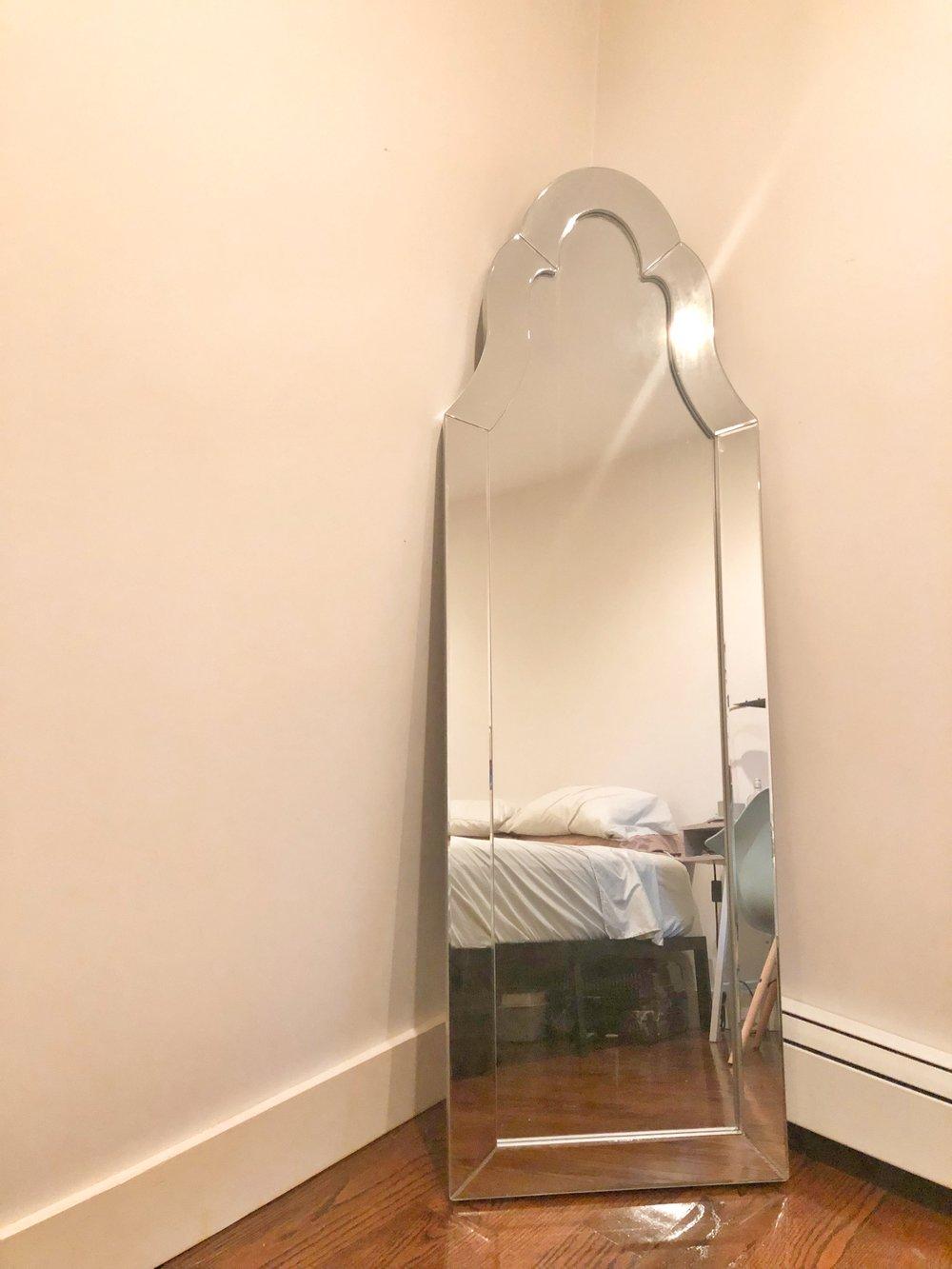 Dini Leaning Mirror in Matte Silver from Aiden Lane - Eri Sabalvoro