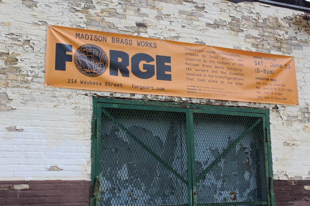 Entrance to Forge Exhibit at Brass Works building.