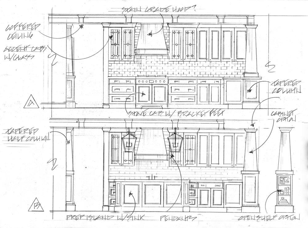 kitchen with columns