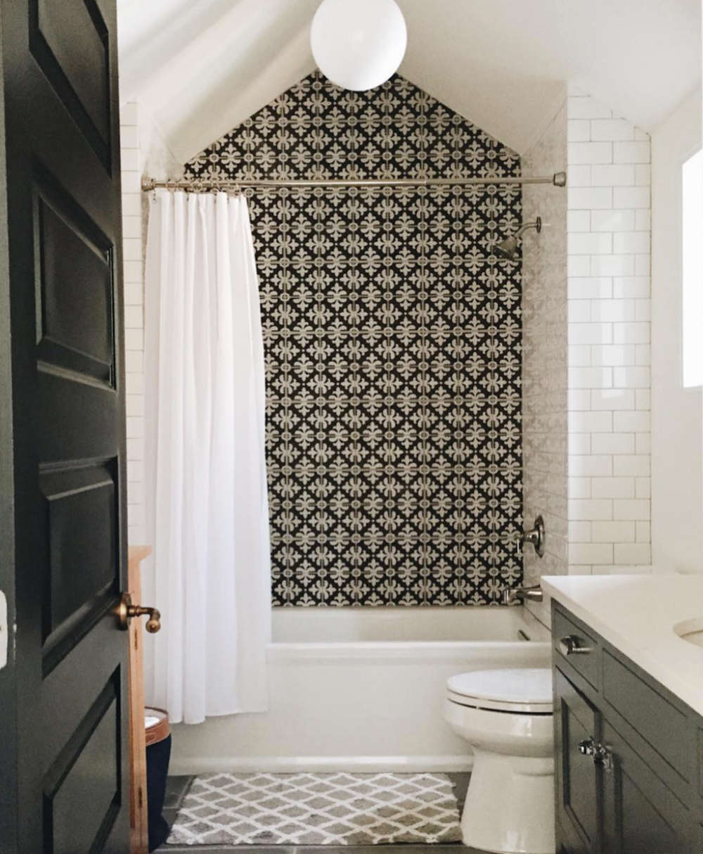 black ans white tile bathrooms
