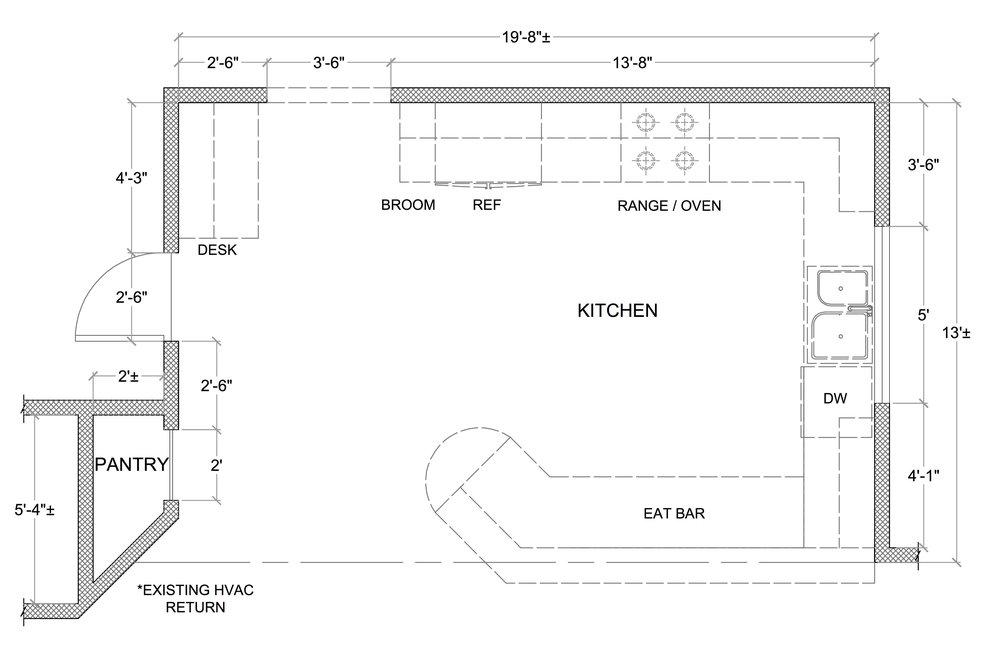 kitchen floor plan before