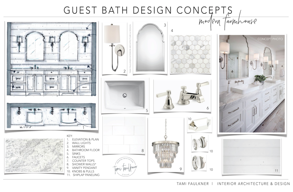 tami faulkner design modern farmhouse guest bath
