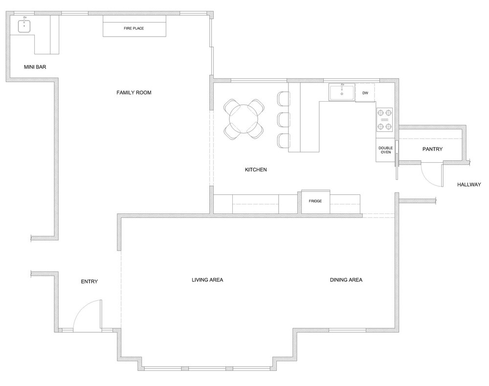 final floor plans for a 1970s kitchen reno - modern farmhouse style