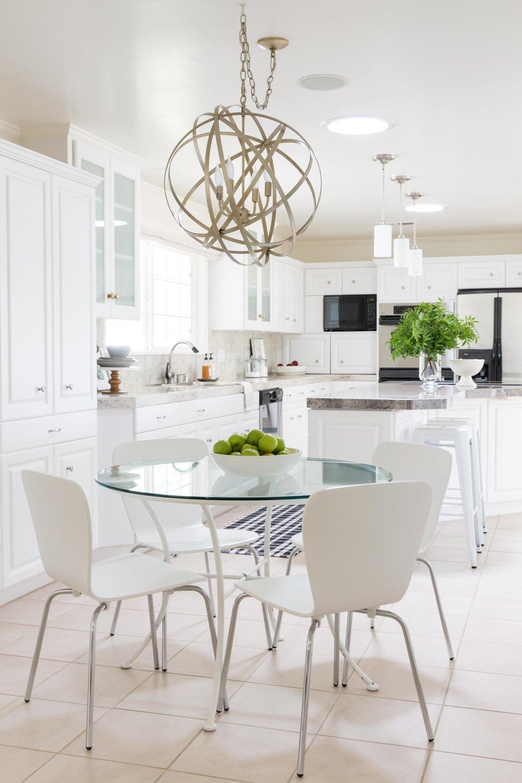 white kitchen with nook