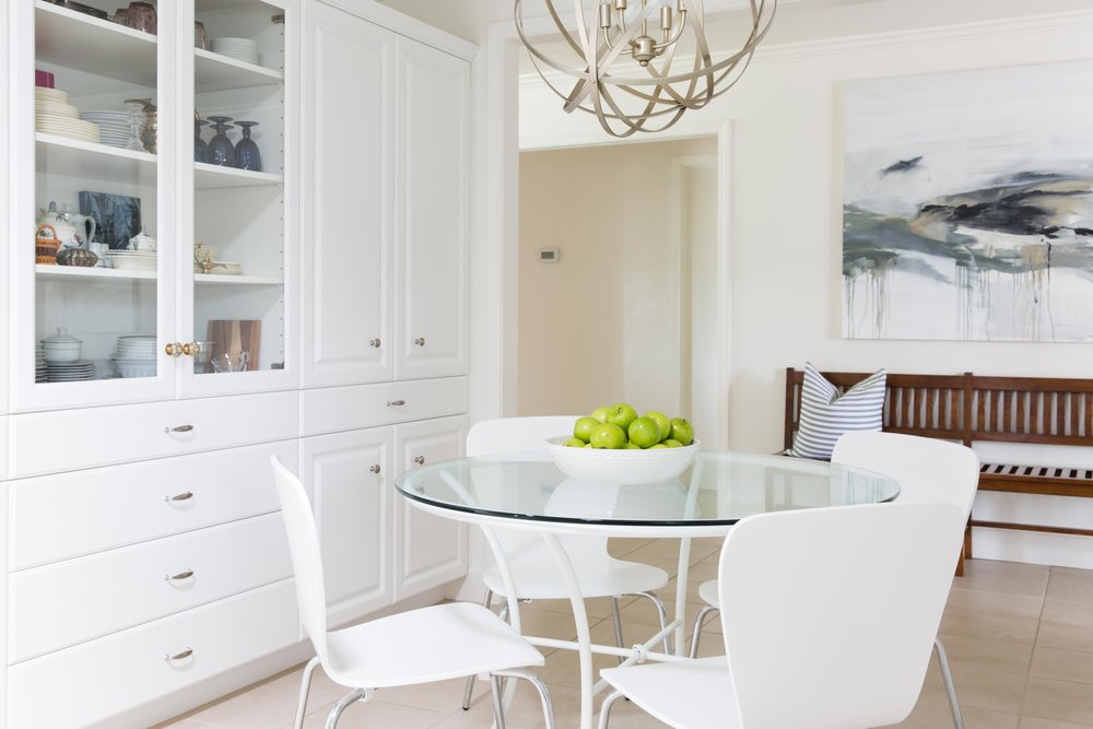 white kitchen with nook