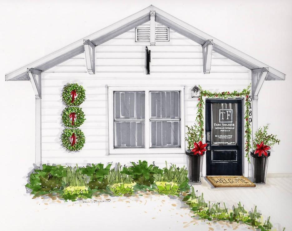 tami faulkner design, sacramento interior design, white house with black front door