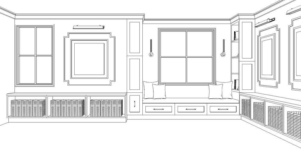 ART & WINDOW SEAT WALL