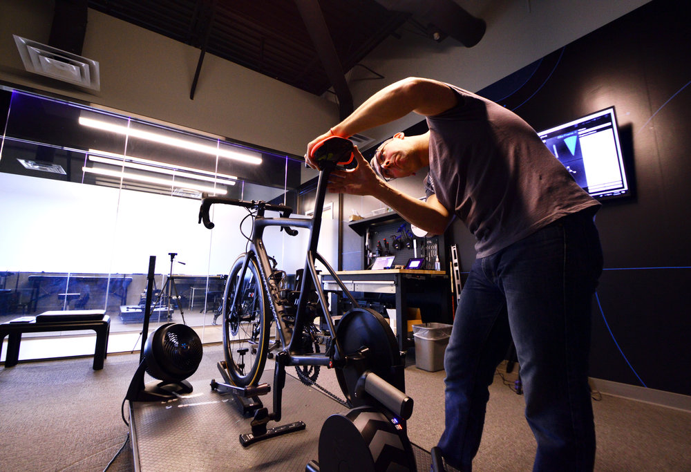 Williams adjusting the saddle height and position for the Specialized Power saddle with Mimic technology.