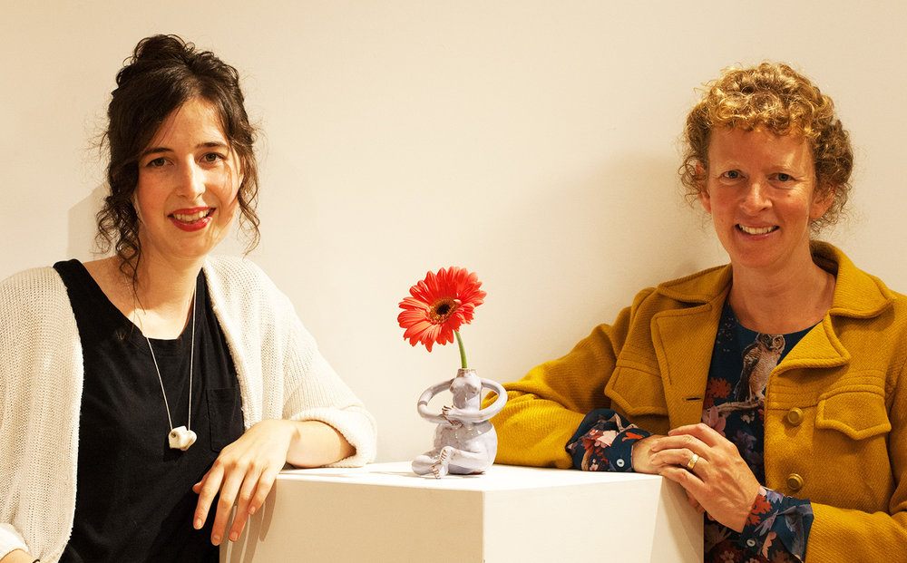 """Claire Stewart (left) and Teresa Bergen (right) at Chester Art Centre """"Meet and Greet"""" for Claire."""