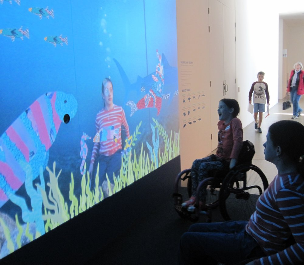 "Interactive ""fish tank"" at State lIbrary holiday session."