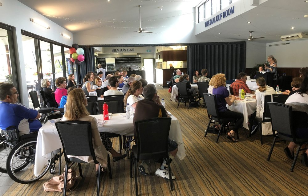 Individuals and families at a recent NDIS session held at Toowong Rowing Club.