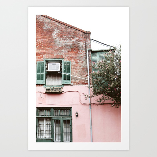 NEW ORLEANS PINK BRICK WALL