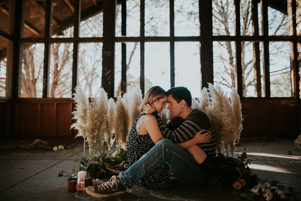 Tate + Violet in abandoned house | Chelsey Herrera Photography