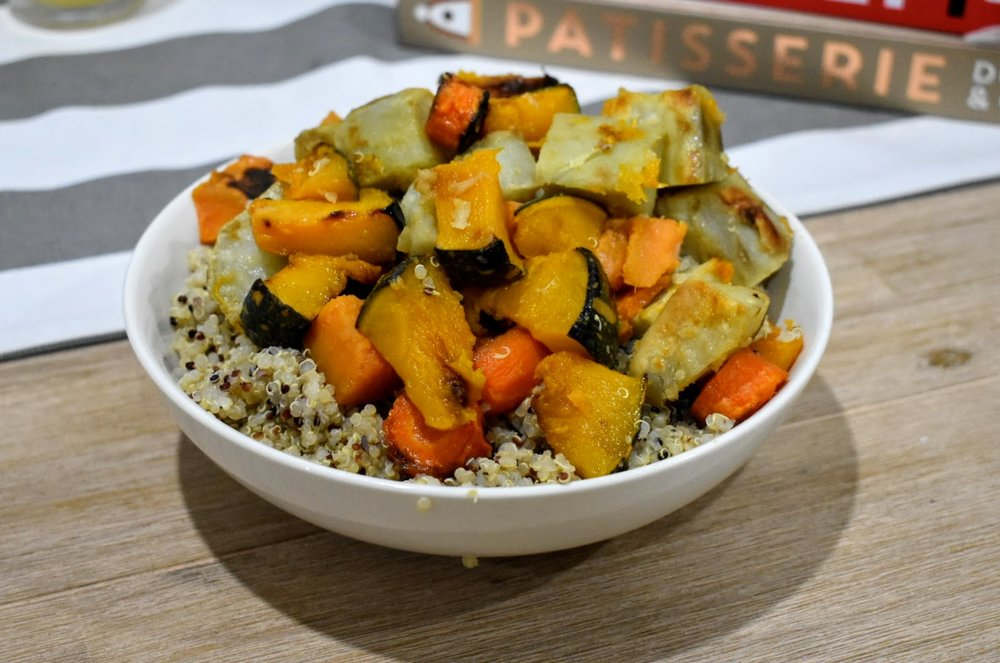 The final product - Roast Vegetable Quinoa Salad