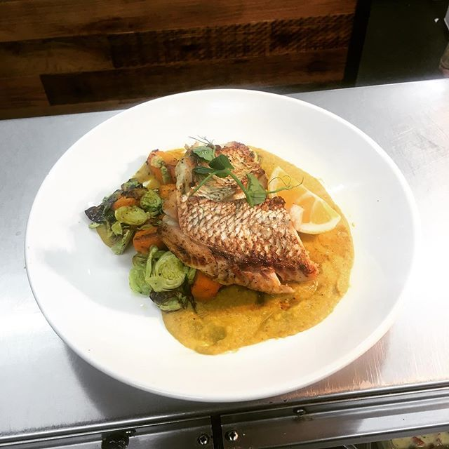 Today's Fish of the Day: Pan-seared Snapper with sautéed Brussel sprouts, roast Pumpkin & a spiced Red Lentil sauce! So good 😊