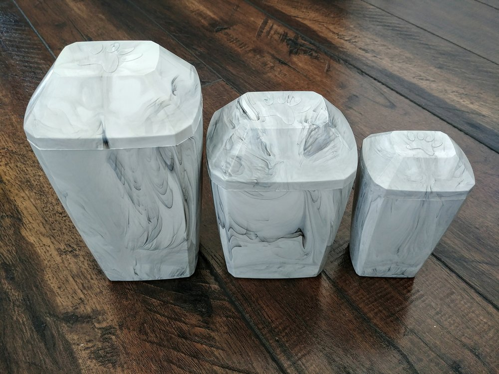 Faux Marble Temporary Urns - *First Option. Classy Grey Faux-Marble Urns included with each Cremation PackageS(26 cu