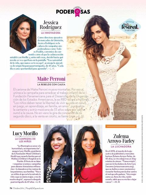 Page #76 of the October 2016 issue of People En Español magazine, where Zulema Arroyo-Farley is featured as one of the 25 Most Powerful Hispanic Women in the United States.