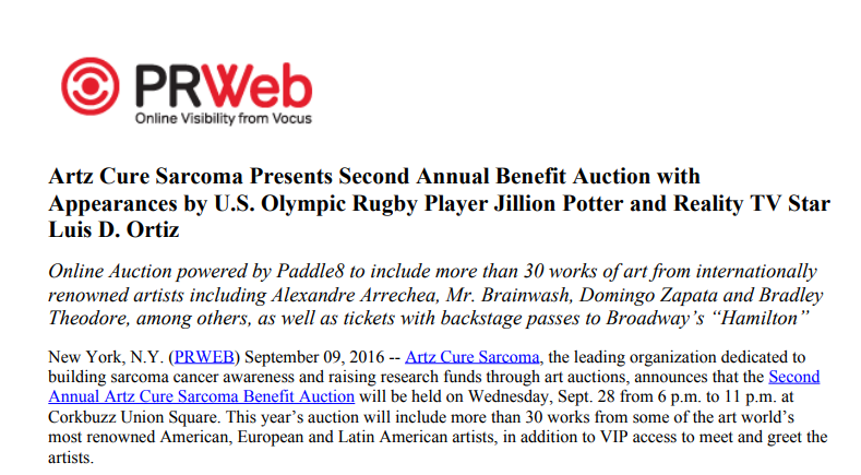 Artz Cure Sarcoma™ Benefit Auction 2016 (English)