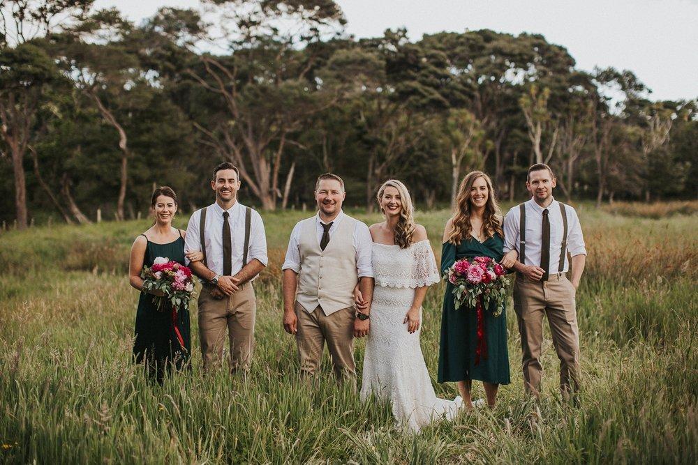 bridal party, backyard wedding