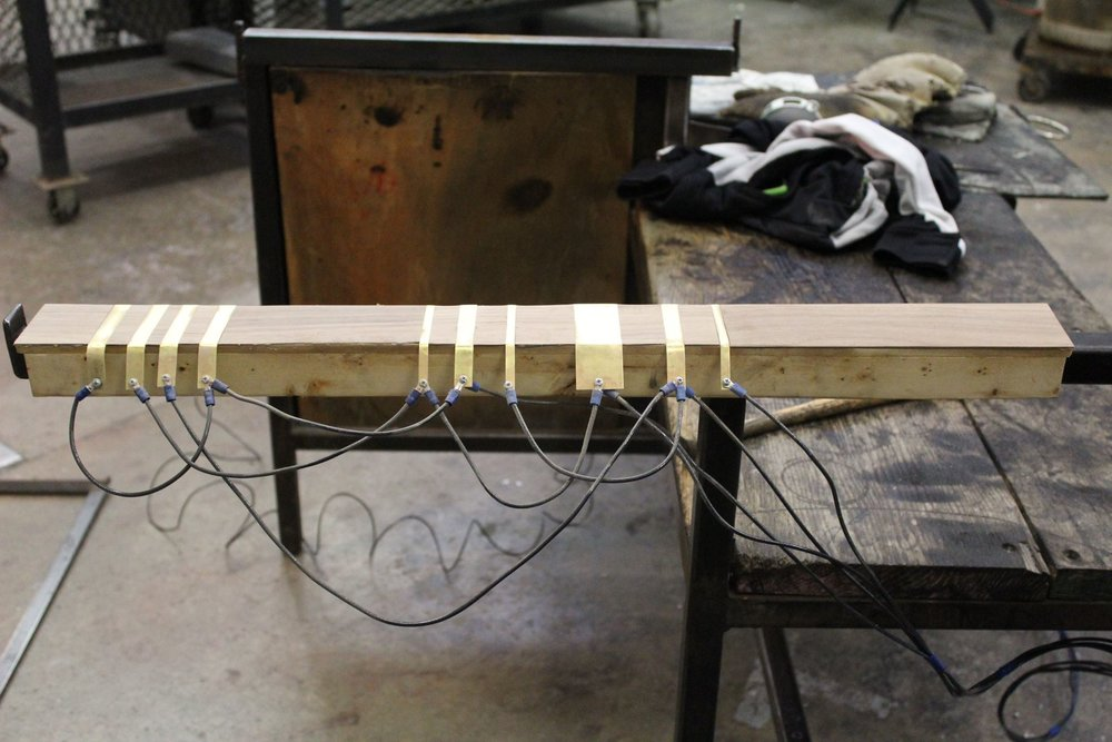 The Benchtrument - The Benchtrument is a custom-made instrument by Bylta for the glassblower´s bench, and has been part of all of Bylta´s shows. It triggers sounds through the turning of the punty or the blowpipe, and can also be played with fingers, much like a keyboard.