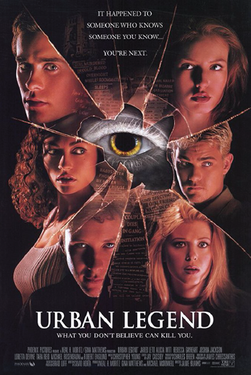 7. Urban Legend (1998) - Urban Legend is one of the best things to come out of the Post-Scream horror craze. The movie is fun, inventive, and doesn't take itself to seriously. Grab some popcorn and put this 90's slasher on for a great night alone or with friends.