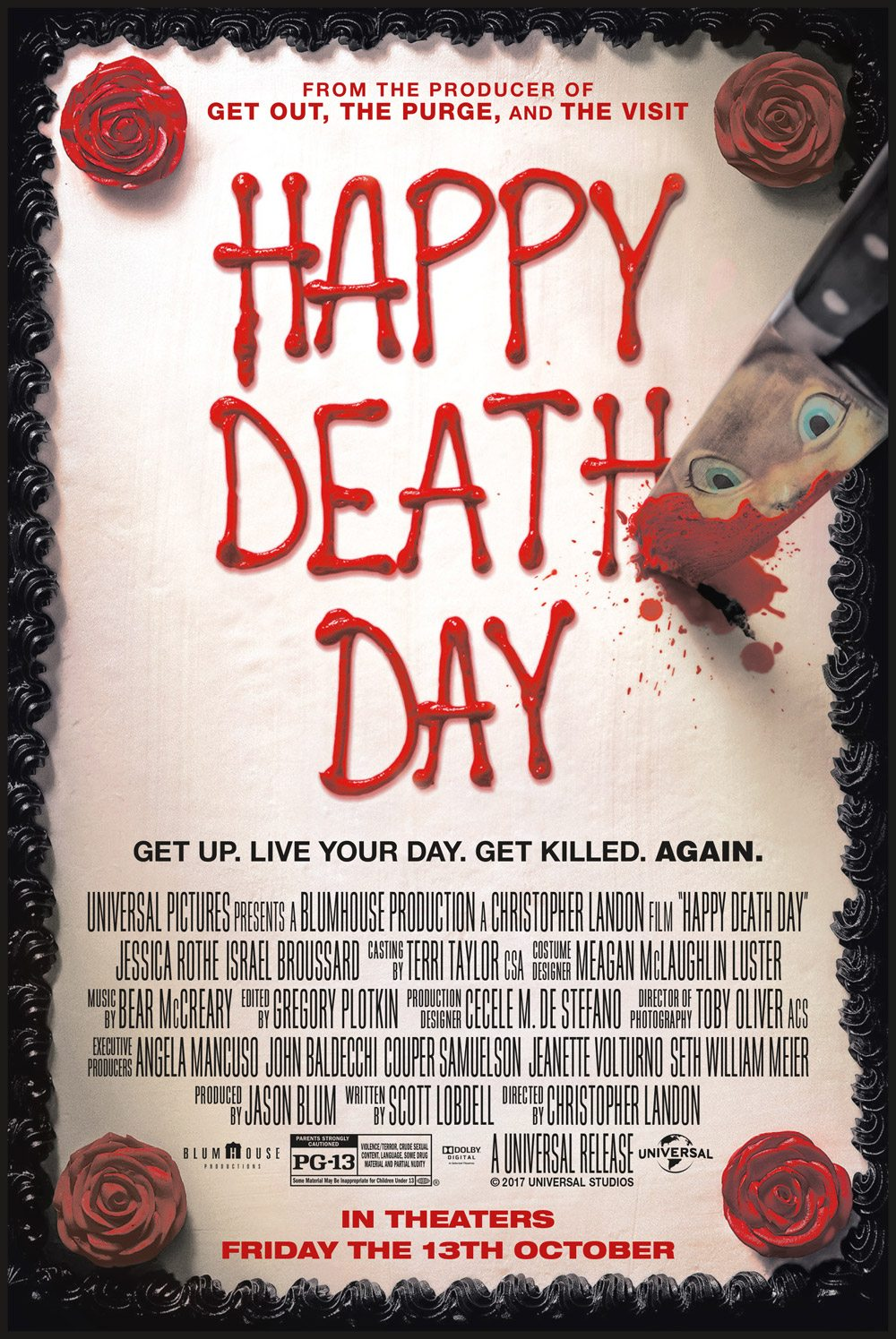 6. Happy Death Day (2017) - Described as Groundhog's Day meets Scream, this twist on the slasher genre turns its slutty sorority sister into a bad ass final girl. Full of charm and smarts, this slasher brings a new slasher trope to get behind, #GroundhogHorror.