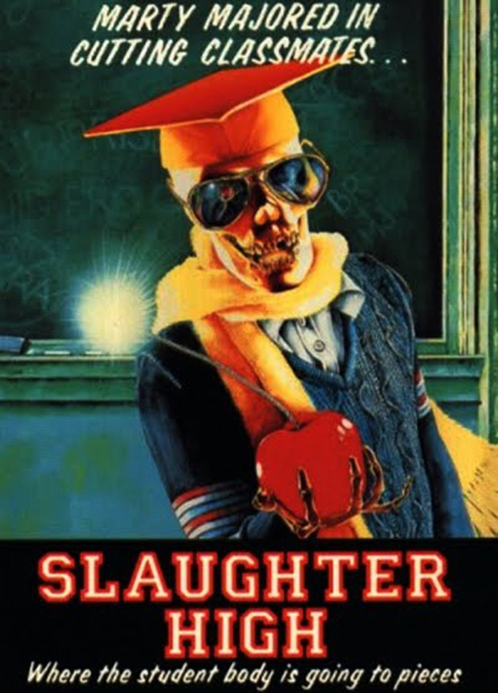 25. Slaughter High (1986) - With a British cast and crew, this American set slasher is quirky at best. A repetitive score, deplorable cast and some poorly executed kills, this movie leaves a lot unfinished. Bonus Points for the truly exceptional motive for our killer, even if his actual kills end up a little lackluster.