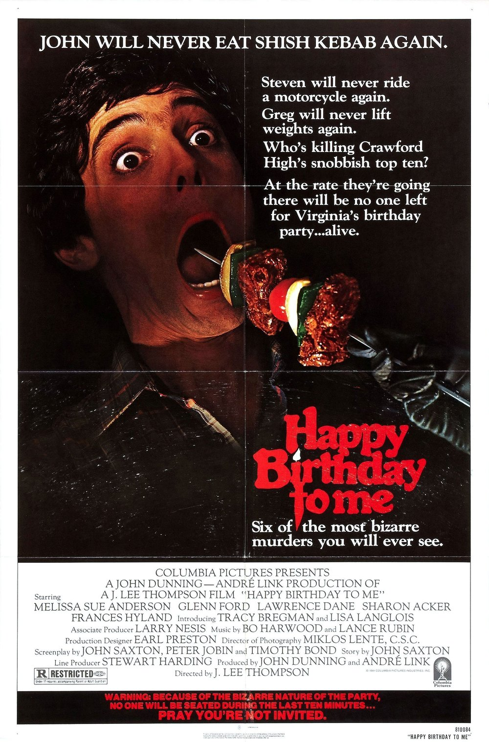 18. Happy Birthday To Me (1981) - One of the first to cash in on the slasher boom, Happy Birthday to Me is a wild, weird smattering of the slasher genre we know now, TV soaps and giallo. With a number of well conceived red herrings, bonkers storytelling and a climax for the ages, the 81  slasher still needs a wider audience, especially within group viewings.