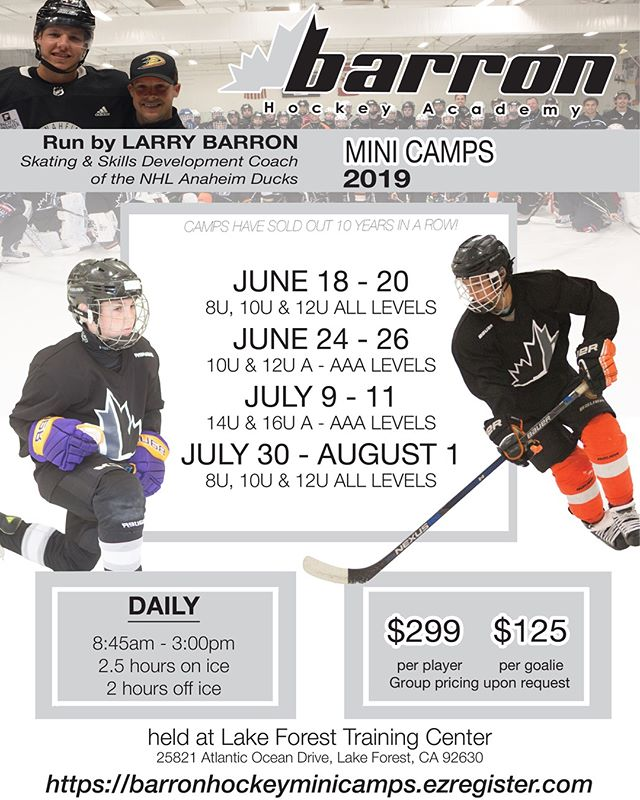Camps are now available for registration - registration on our website 🏒#barronhockey #summercamps #hockey