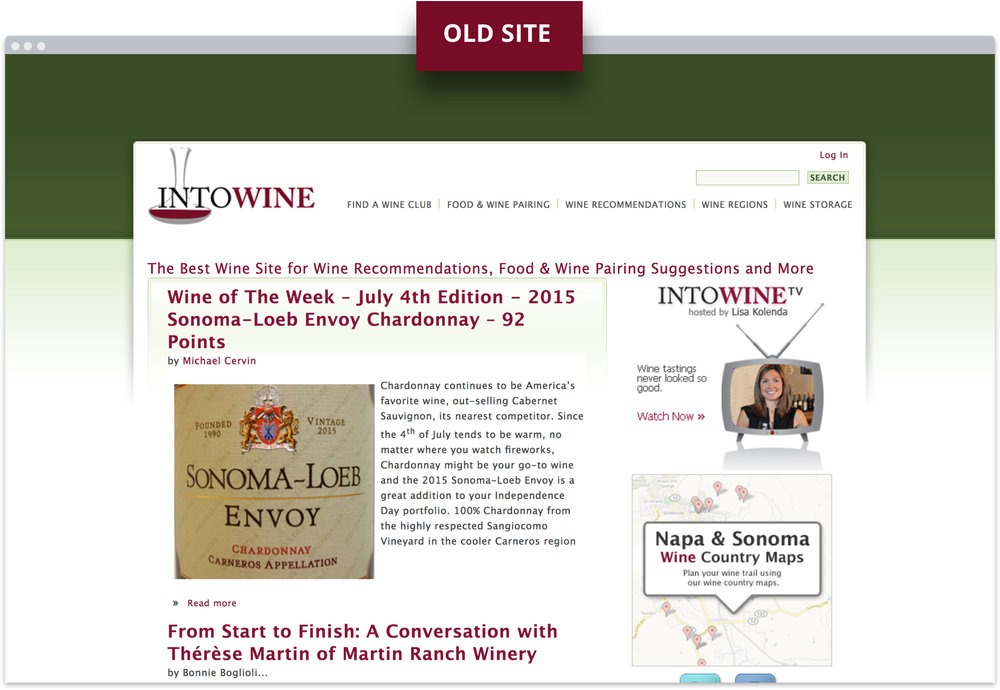 Old home page of IntoWine.