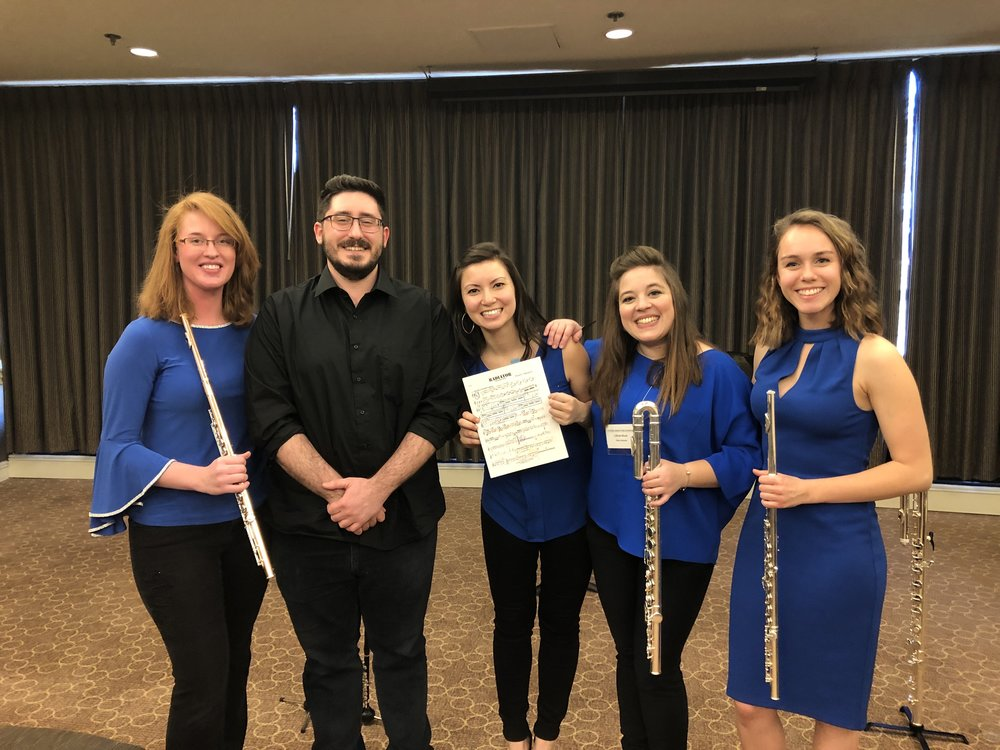 With composer Robert Randazzo (Radiator for Flute Quartet) at the 2019 Mid-Atlantic Flute Convention