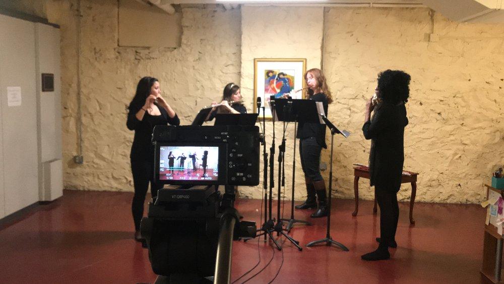 "Recording session ""Quartet for Diverse Flutes"" by Peter Bacchus (Harrisburg, PA)"