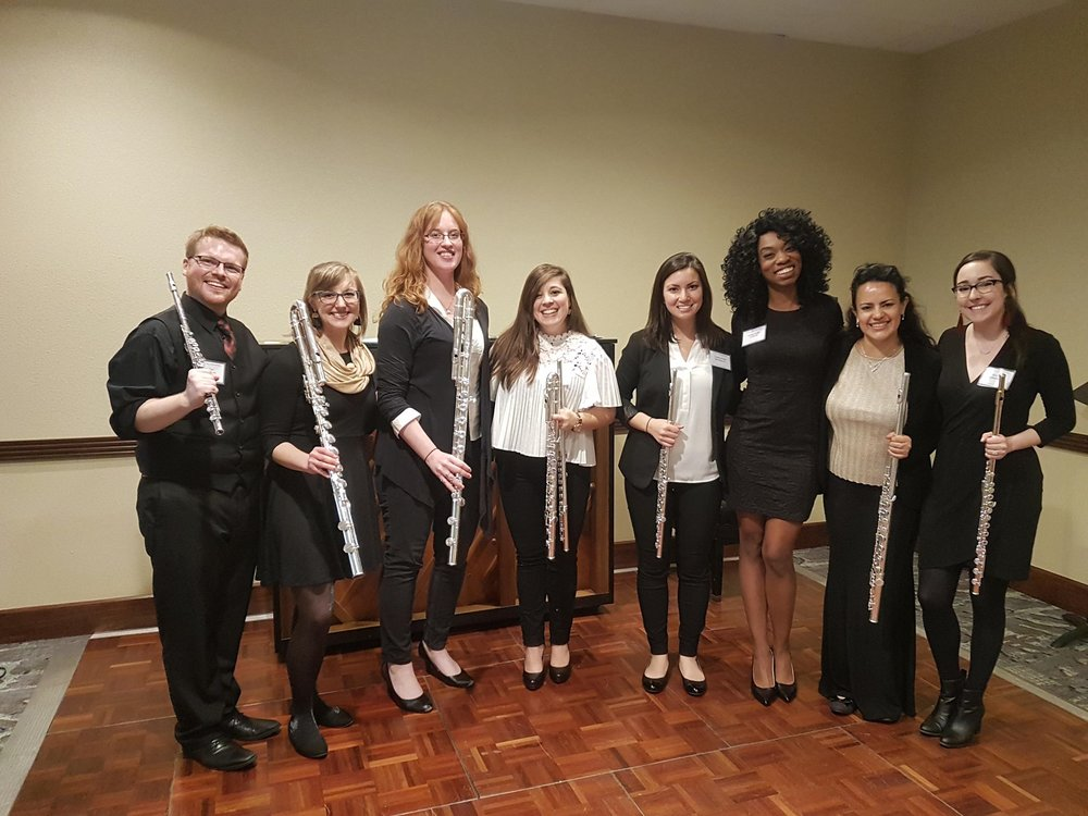 With the Silver Lining Flutes after our joint recital at the 2018 Florida Flute Association Convention