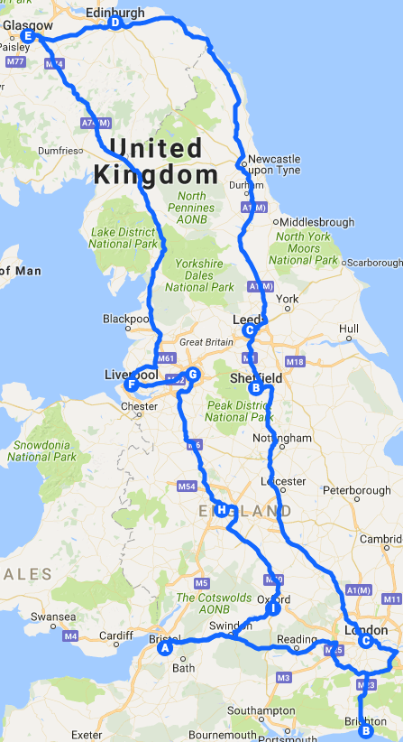 Musician's Map GB UK tour route example music touring band