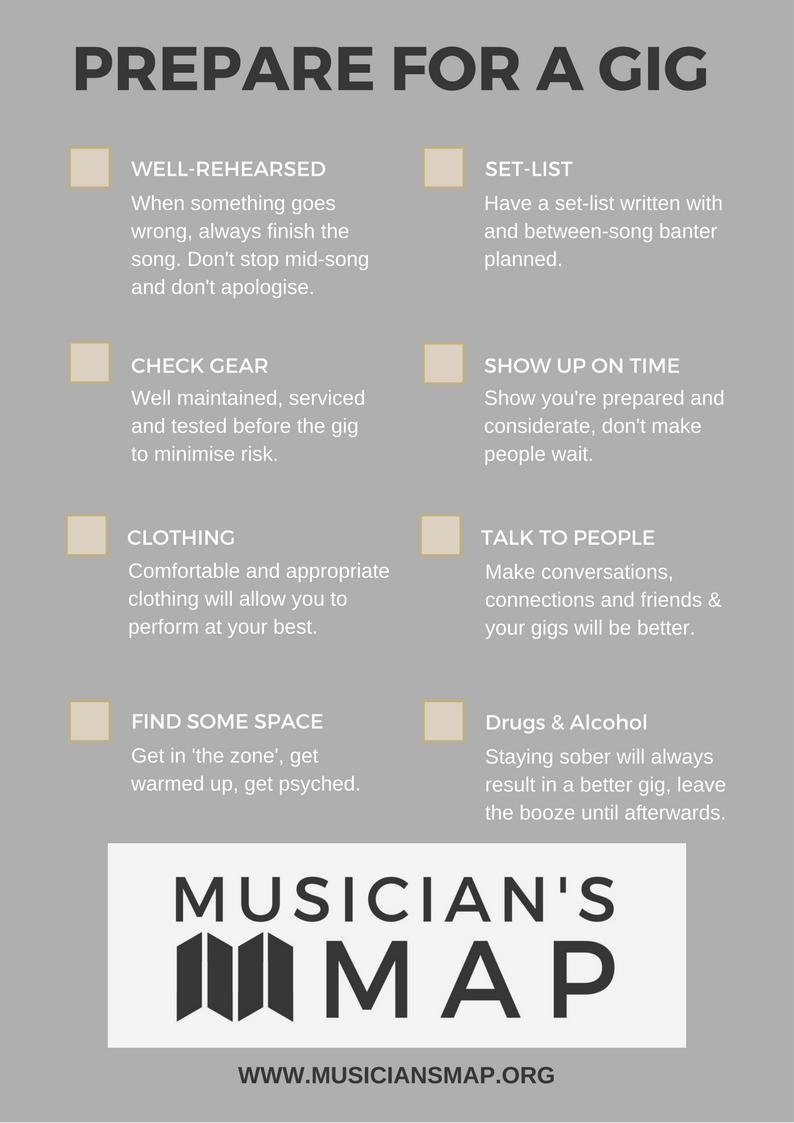 Musician's Map free gig-prep checklist