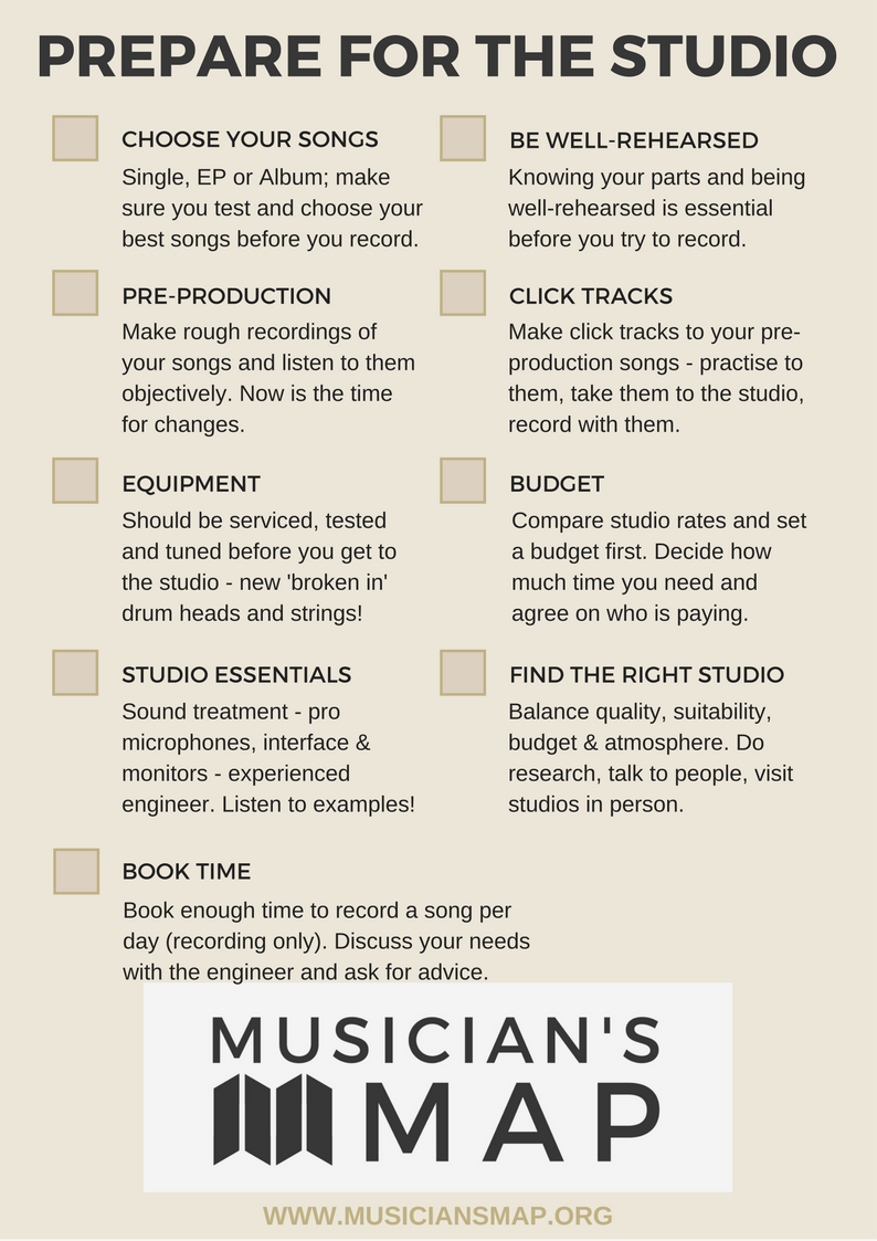 Musician's Map prepare for the studio checklist