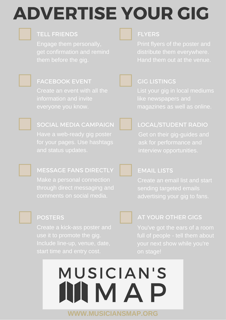Musician's Map how to advertise your gig checklist
