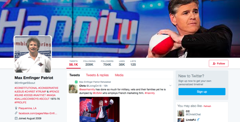"Milo loves you! He says, ""with a manly 'stache like that, I'd Emfinger you."" Let us know if you're into it. Hannity!"
