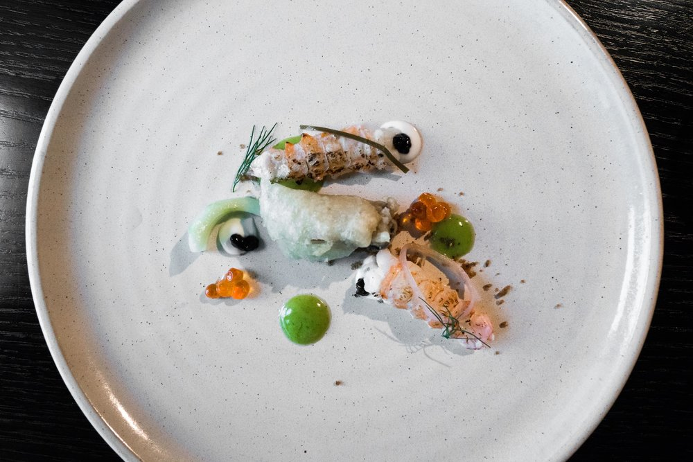 LOCH HARPORT & DUNVEGAN - raw & cooked langoustines — crispy oyster —cucumber