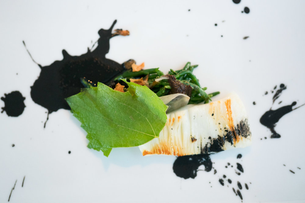 - dirty cuttle fish, aigretti, charcoal grilled young onion