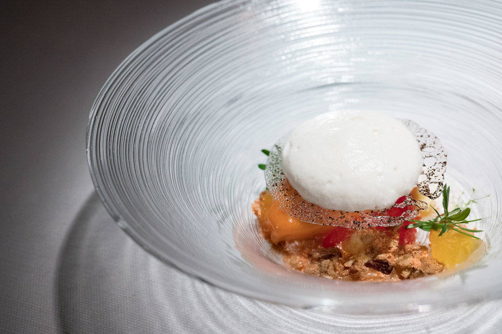 - blood orange, black tea, granola, carrot ice & salty almond mousse
