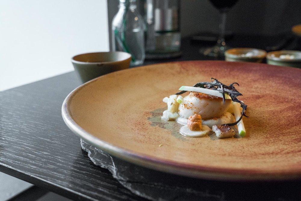 ROASTED SCONSER SCALLOP - salt baked celeriac — sour apple — smoked sea dashi