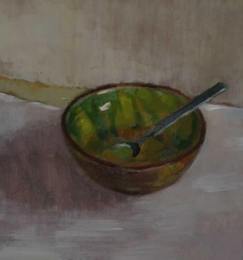 bowl, dressing, spoon