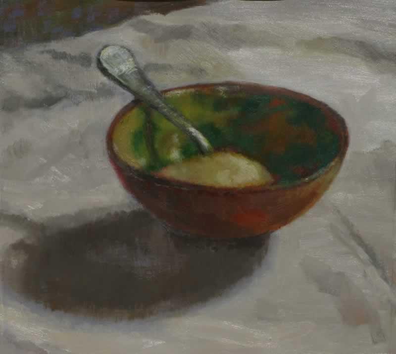 bowl, sugar, spoon