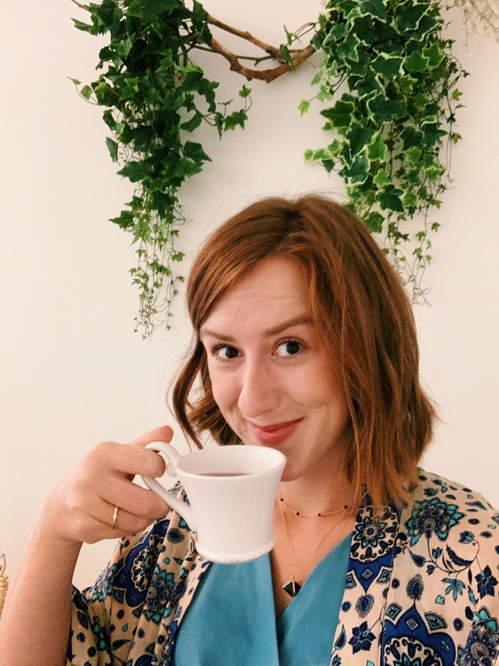 Feeling smug with my herbal tea in Bat Your Lash Salon.
